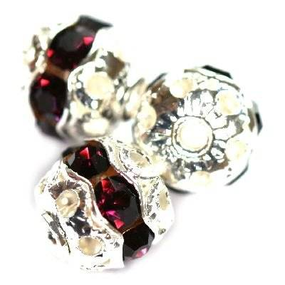 spacers bollen met zirkonen amethist 8 mm