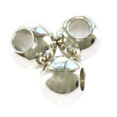 round large hole silver plastic beads 8 mm
