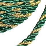 corde bouclée verte avec fil d'or 4 mm