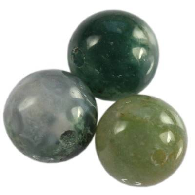 round beads moss agate 6 mm