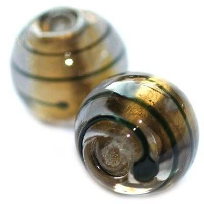 lampwork beads black 12 mm