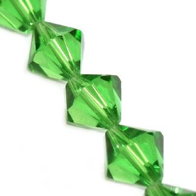 glass bicone hand cut green 12 mm