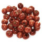 round wooden beads brick-red 7 x 8 mm