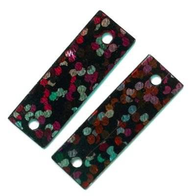 sequins laser rectangles noirs 6 x 19 mm