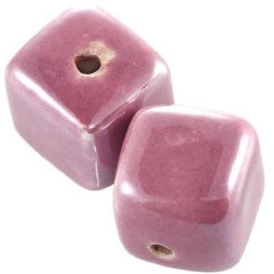 cubes en porcelaine brillantes améthyste 16 mm