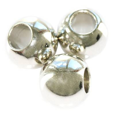 round large hole silver plastic beads 10 mm
