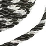 sznurek skręcany czarny ze srebrną nitką 4 mm