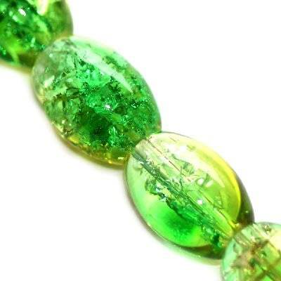 crackle ovals green 10 x 14 mm