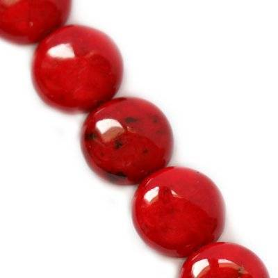 marble drops dyed red 6 x 4 mm / natural stone dyed