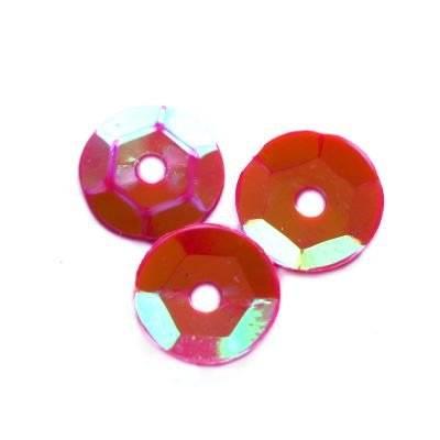 cekiny kremowo - tęczowe koła łamane czerwone 8 mm