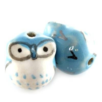 sowy porcelanowe niebieskie 13 x 15 mm