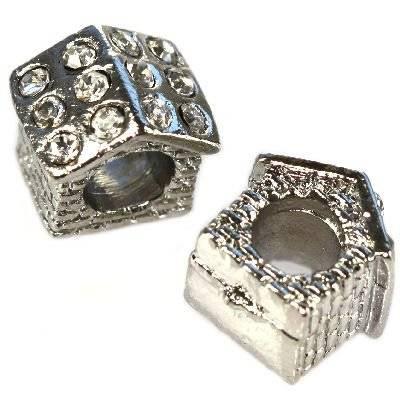 koraliki modułowe srebrny domek 10 x 10 x 8 mm