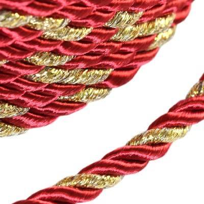 sznurek skręcany czerwony ze złotą nitką 4 mm