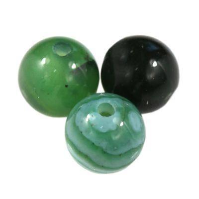 agat gładki ciemno zielony 6 mm kamień półszlachetny naturalny barwiony