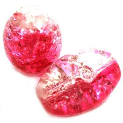 crackle beads ovals pink 10 x 14 mm