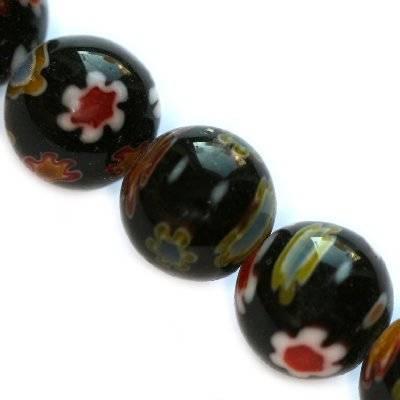 kralen zwarte millefiori bloemen 8 mm