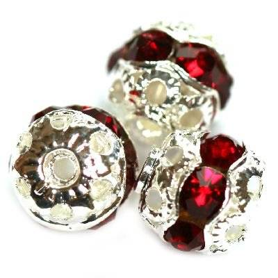 spacers beads with zircons ruby 8 mm