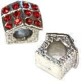 perles modulaires  maison  rubis 10 x 10 x 8 mm
