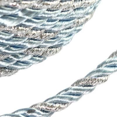 sznurek skręcany błękitny ze srebrną nitką 4 mm