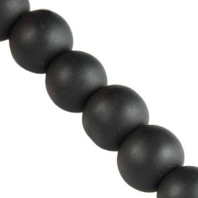 Frosted Beads black 4 mm