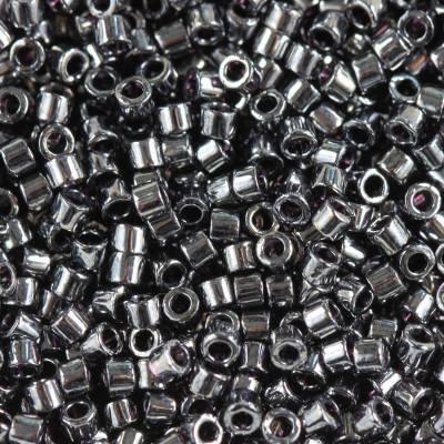 Miyuki Delica beads opaque gunmetal 1.6 x 1.3 mm DB-0001