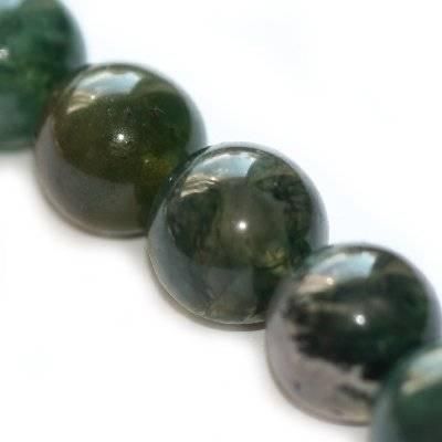 agate moss beads 12 mm / semi-precious stone