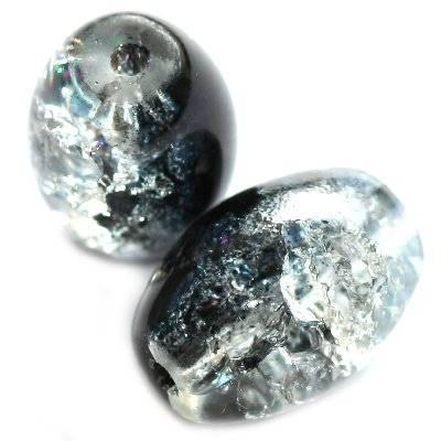 perles de crépitement ovales noires 10 x 14 mm