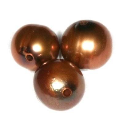 perełki słodkowodne 4-5 mm brązowe