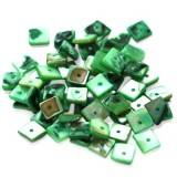 mother of pearl squares green 1 cm
