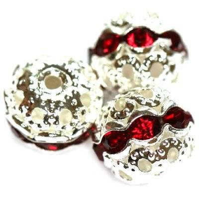 spacers beads with zircons ruby 10 mm