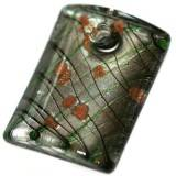 lampwork beads pendants rectangles silver under web 34 x 45 mm