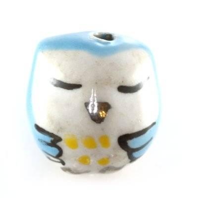 sleeping owl porcelain blue 15 x 15 mm