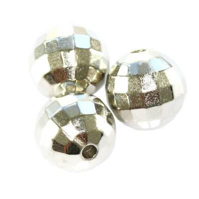 boules en plastique disco argentées 10 mm