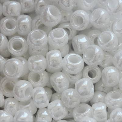 Toho beads round opaque-lustered white 3 mm TR-08-121