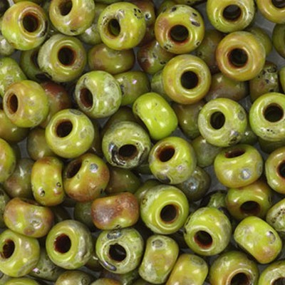 Miyuki round beads opaque picasso chartreuse 6/0 #6-4515