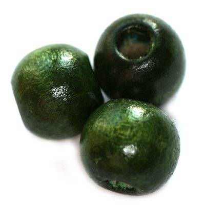 round wooden beads dark green 9 x 10 mm