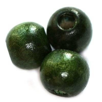 kule drewniane ciemno-zielone 9 x 10 mm