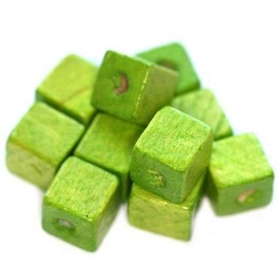 perline in legno cubetti chiaro verde 10 mm