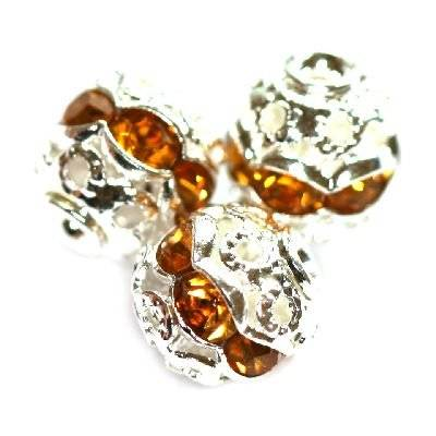 spacers beads with zircons topaz 6 mm
