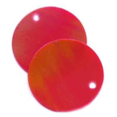 cekiny kremowo - tęczowe koła gładkie czerwone 20 mm