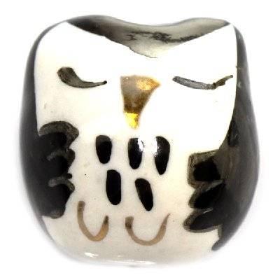 hiboux dormants en porcelaine noirs 15 x 15 mm