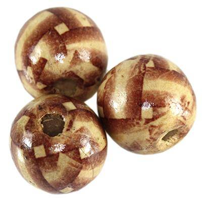 perline in legno rotondo righe 16 mm
