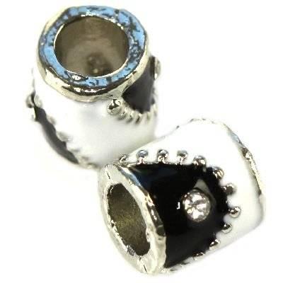 koraliki modułowe biało-czarne beczułki 7 x 8 mm