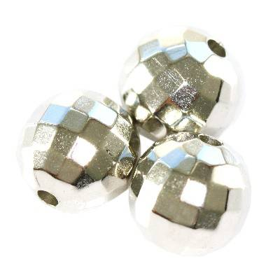 boules en plastique disco argentées 12 mm