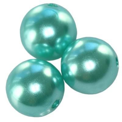 plastic pearls aquamarine 10 mm