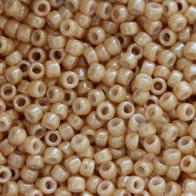 Toho beads round opaque-lustered dark beige 1.6 mm TR-15-123D
