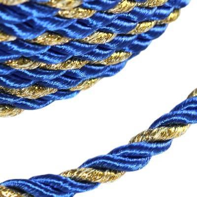 sznurek skręcany niebieski ze złotą nitką 4 mm