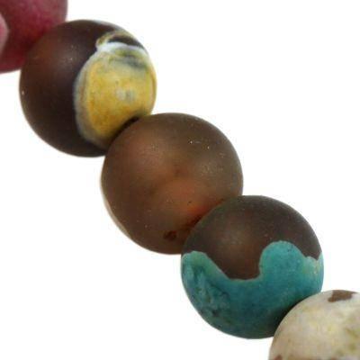 agate beads mat yellow blue 6 mm / semi-precious stone