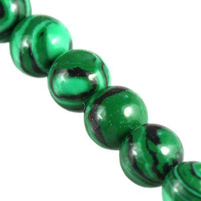 malachite round beads 6 mm / semi-precious stone synthetic