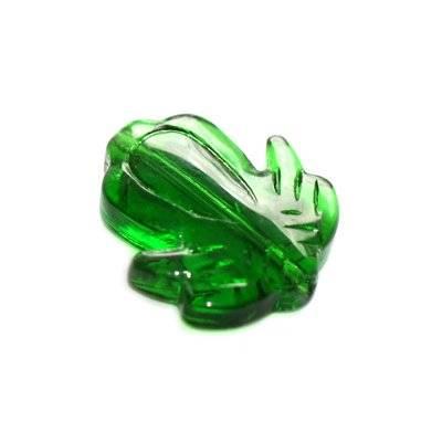 glass beads flower green 20 mm
